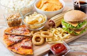Junk foods, chips, burgers, etc