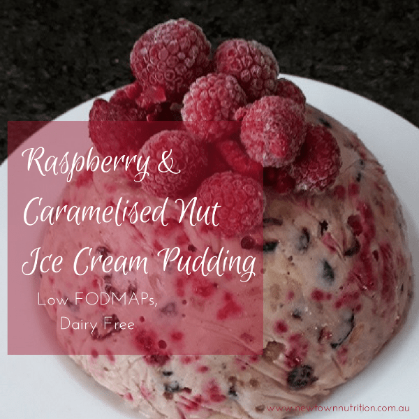 Low FODMAPs Ice Cream Pudding Raspberry Caramelised Nuts