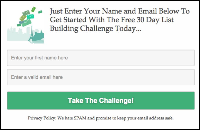 Take the challenge sign up