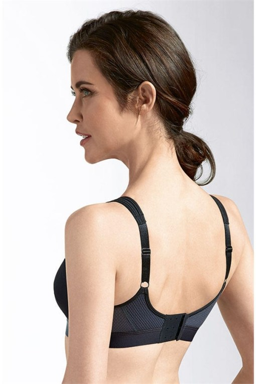 POWER SPORTS BRA MEDIUM SUPPORT | Black Grey | Back View