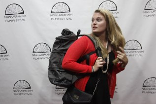 Winner Ashley Maria models her Betabrand Cornucopia Bag