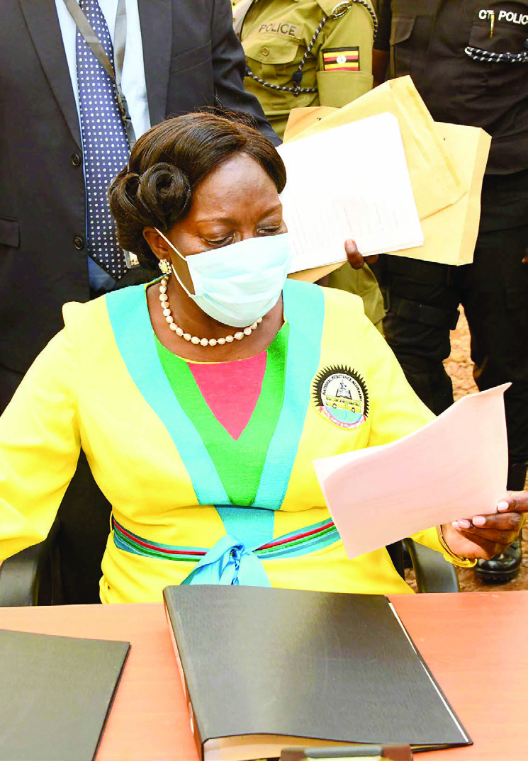 Kadaga formalising her move to contest for the post of speaker of the 11th Parliament