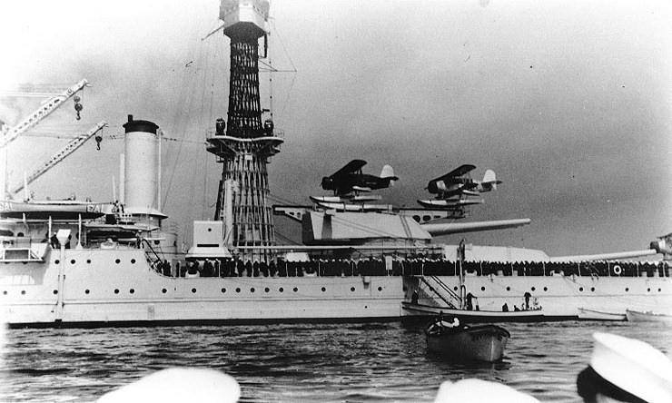 Catapult floatplanes on USS Tennessee (BB-43), circa 1938.