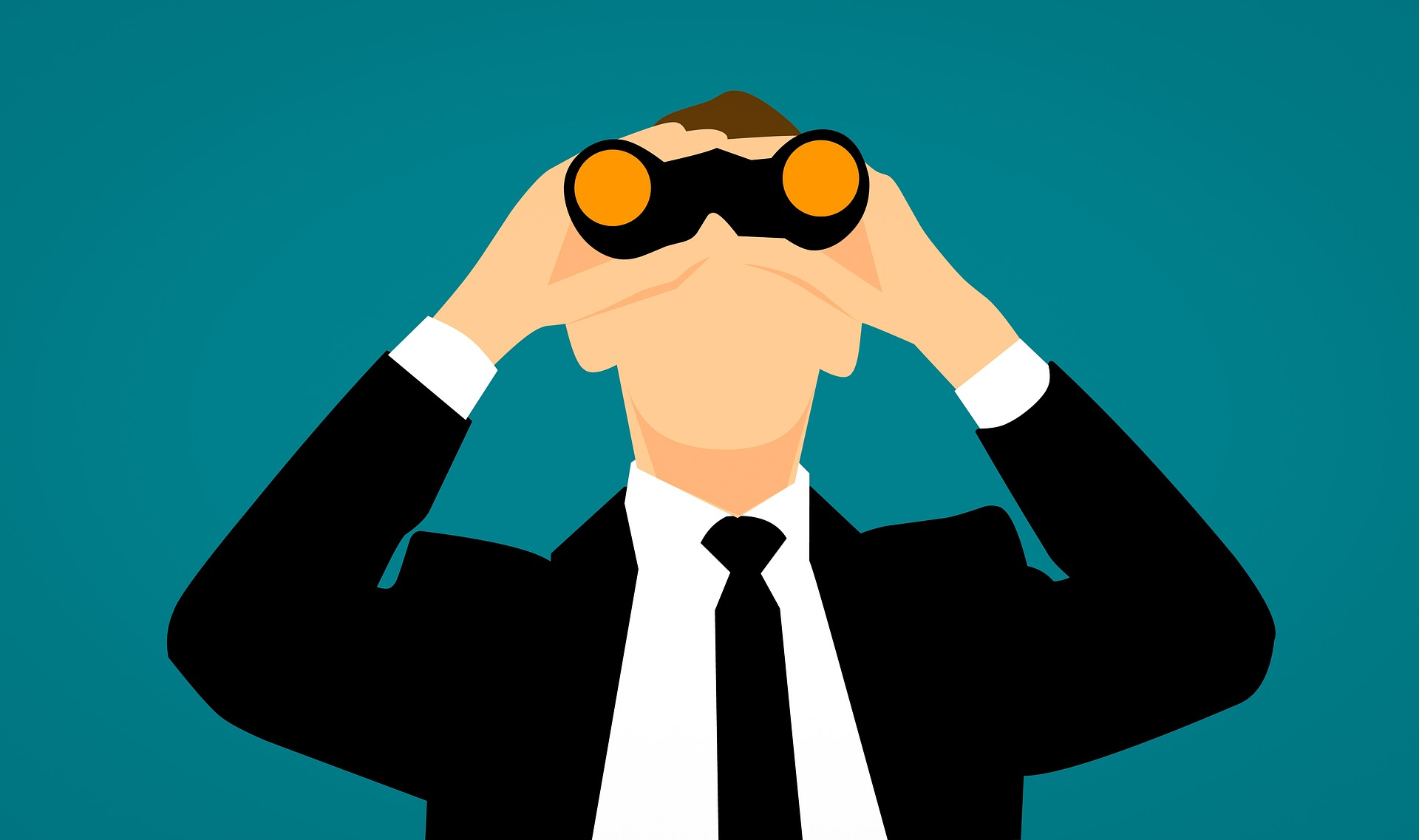 competitors' SEO - man in a suit with binoculars