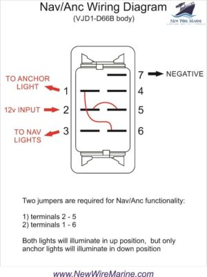 Nav Anc Rocker Switch | Carling Contura II | Illuminated | New Wire Marine