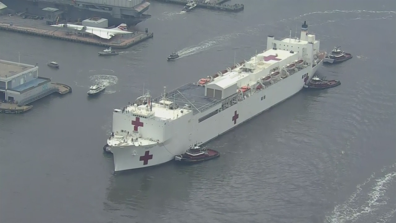 Coronavirus Update: Navy Hospital Ship USNS Comfort Sails Into New York Harbor