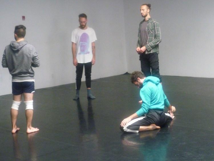 Austin Diaz, far left, at rehearsal