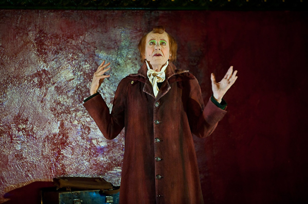 "Geoffrey Rush as Aksentii Poprishchin in Belvoir's production of ""The Diary of a Madman"" at the BAM Harvey Theater. Photo Stephanie Berger."