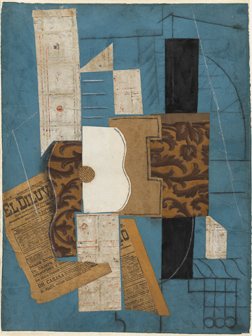 """Pablo Picasso (Spanish, 1881-1973) Guitar. Céret, March 31, 1913, or later Cut-and-pasted newspaper, wallpaper, paper, ink, chalk, charcoal, and pencil on colored paper 26 1/8 x 19 1/2"""" (66.4 x 49.6 cm) The Museum of Modern Art, New York. Nelson A. Rockefeller Bequest © 2011 Estate of Pablo Picasso/Artists Rights Society (ARS), New York"""