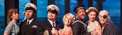 Tynan Davis, Jason Plourde, Robert McPherson, Georgia Jarman, Jorell Williams, Vanessa Cariddi, and Scott Bearden in HMS Pinafore. Photo Gabe Palacio.