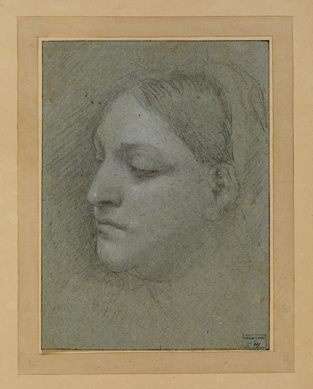 Sebastiano del Piombo (c.. 1485 – 1547) Recto : Study of a Woman's Head, charcoal heightened with white chalk on blue laid paper.  H. 0,232 ; L. 0,177 m.  Musée du Mont-de-Piété de Bergues