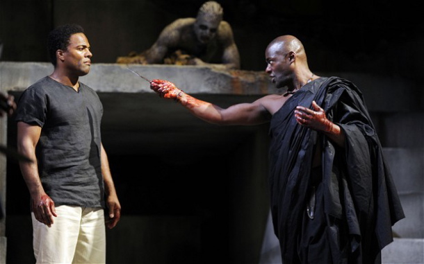 Ray Fearon (Mark Antony) and Paterson Joseph (Brutus) in Gregory Doran's Julius Caesar. Photo by Nigel Norrington.