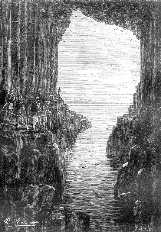 "L. Benett, ""La Grotte de Fingal"" from the original Hetzel edition of Jules Verne's 'Le Rayon-Vert.'"