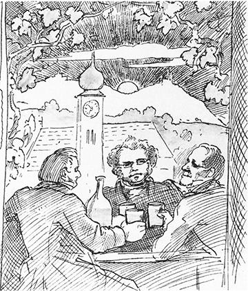 Schubert drinking Heuriger with friends, by Moritz von Schwind. Pen and ink.