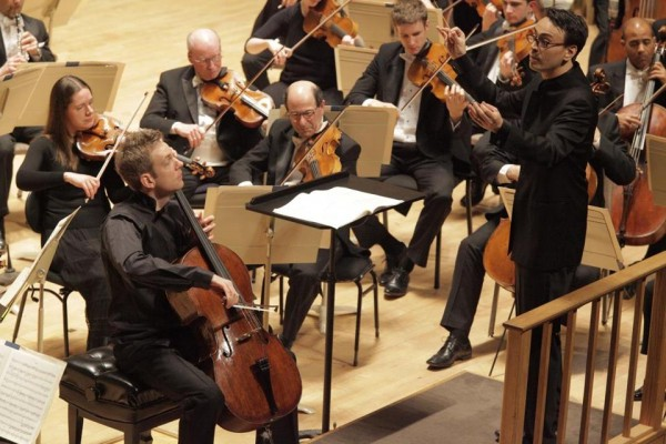 Ken-David Masur and Canadian-German cellist Johannes Moser with the Boston Symphony Orchestra. Photo Hilary Scott.
