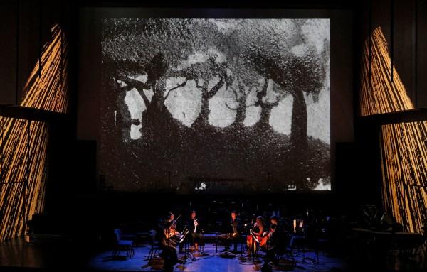 Carlos Chávez, Suite for Double Quartet (Dark Meadow), performed by Amphion String Quartet, Lance Suzuki, flute; Alexandra Knoll, oboe; Benjamin Fingland, clarinet; Monica Ellis, bassoon. Projection design by Doug Fitch and Yoav Gal.