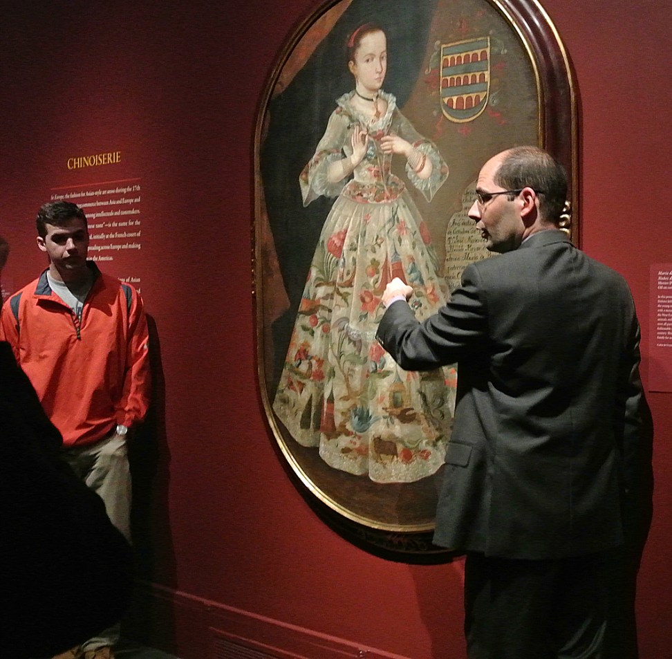 Dennis Carr discusses the portrait of Maria de los Dolores Juliana Rita Nunez de Villavicencio. Photo Virginia Raguin.