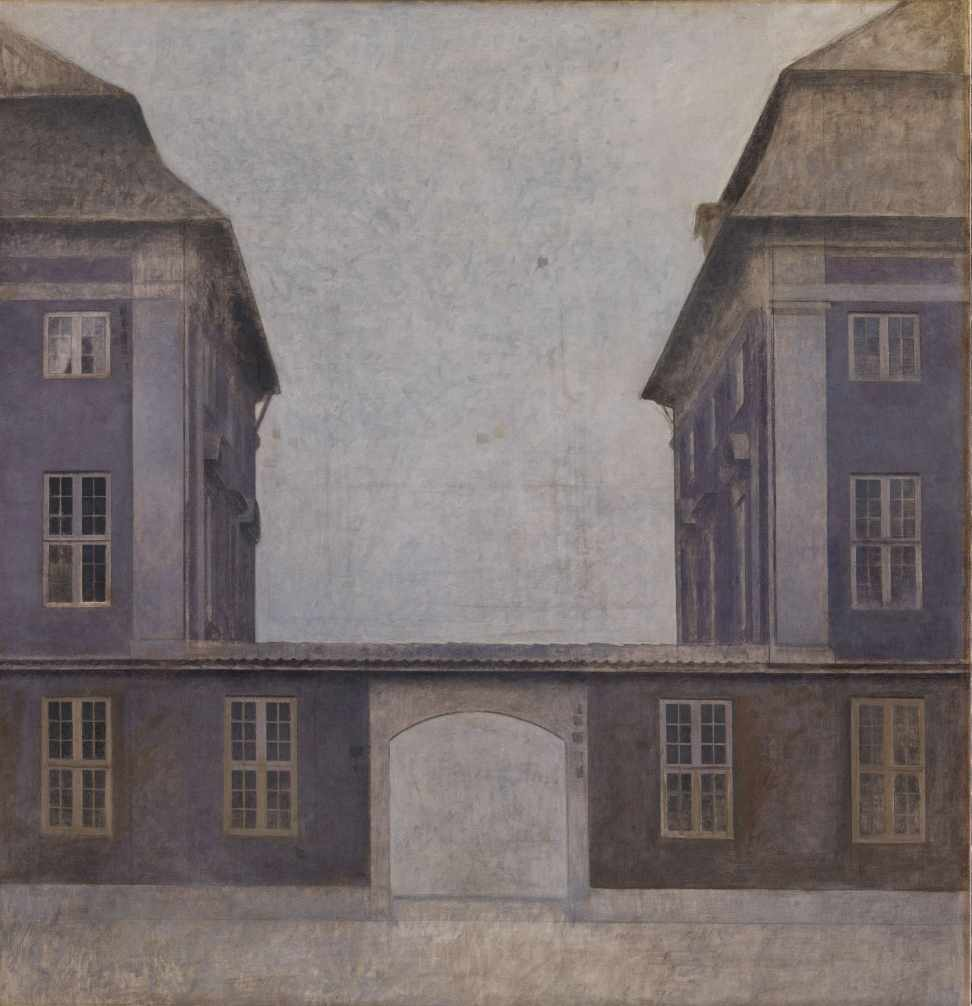 Vilhelm Hammershøi, The Buildings of the Asiatic Company, Seen from St. Annæ Street, Copenhagen, 1902. Oil on canvas, 57 5/8 x 55 1/3 in. (146.5 x 140.5 cm). Statens Museum for Kunst, smk.dk