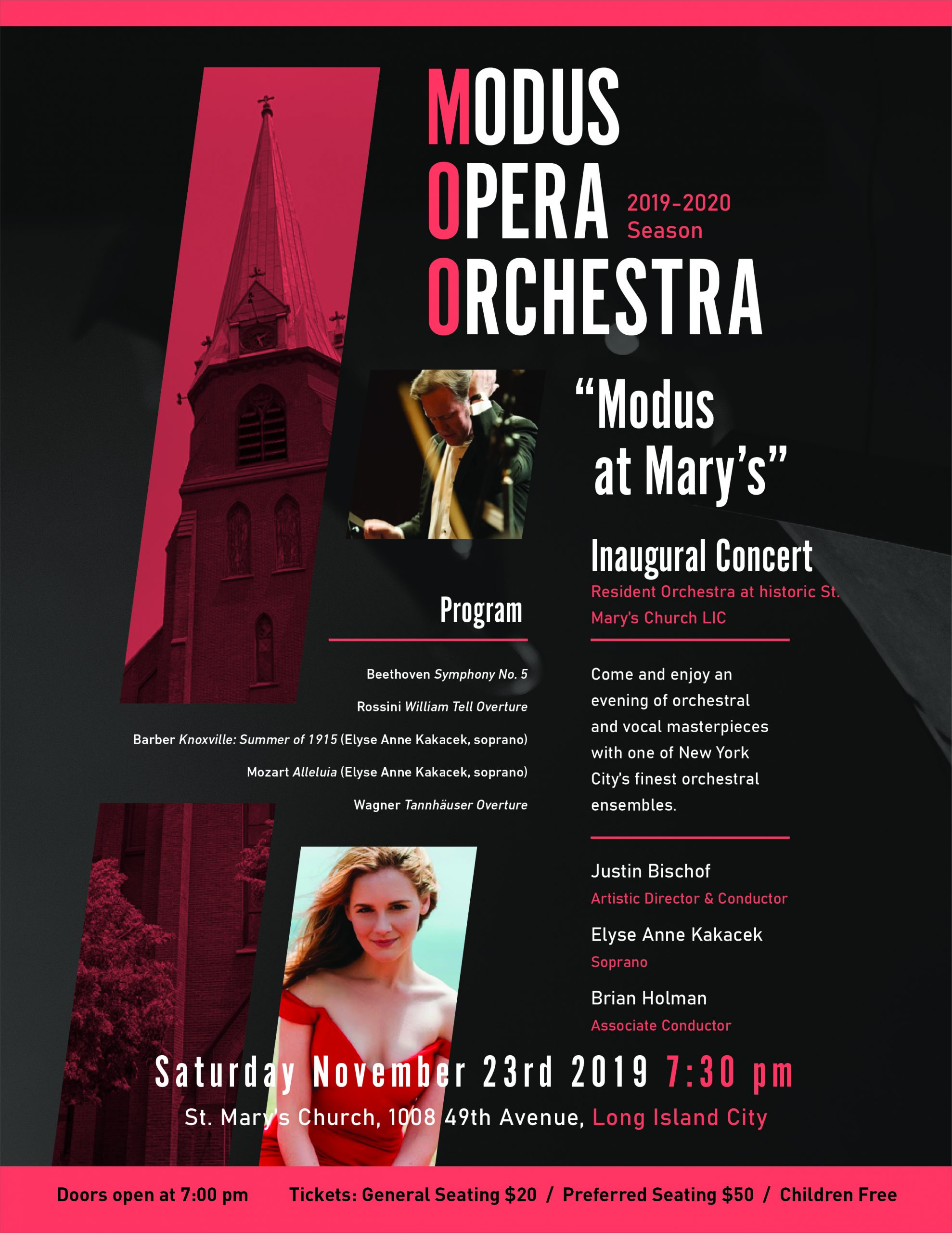 Not to be missed! The newly reorganized Modus Opera Orchestra will play Beethoven, Rossini, Barber, Mozart, and Wagner at St. Anne's Church, Long Island City on Saturday, November 23 at 7 pm.