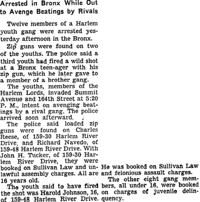 Aug.15, 1956 New York Times Article Harlem Lords Arrested for rumble