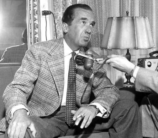 """A picture of Edward Murrow taken in April 1958, two years prior to him narrating the radio documentary """"Who Killed Michael Farmer."""""""
