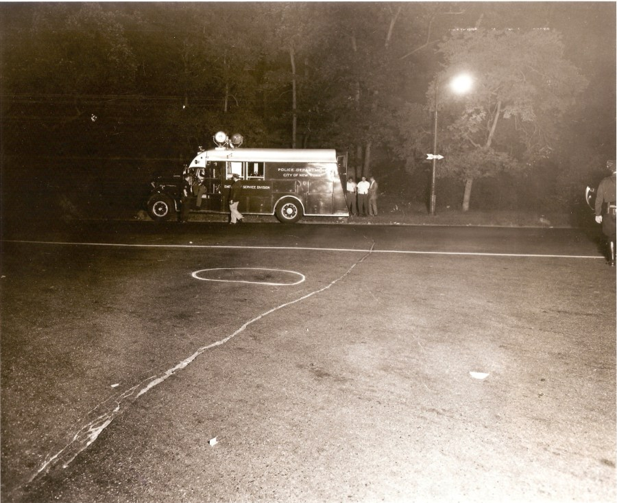 Crime Scene where Milton Graniela, a member of the Sinners, a Manhattan youth gang from the 1950s, was shot and killed by the policeCrime Scene where Milton Graniela, a member of the Sinners, a Manhattan youth gang from the 1950s, was shot and killed by the police.