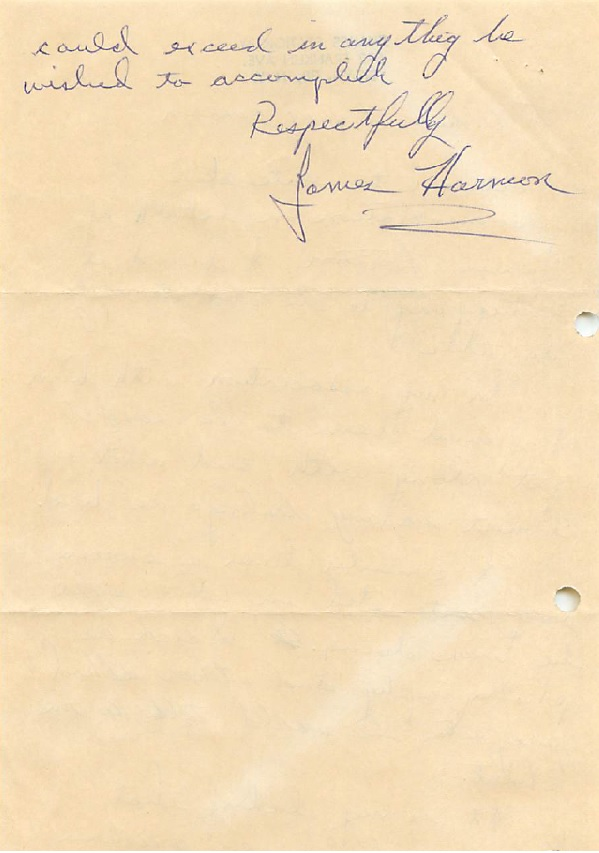 """Letter of reference for James Horton, member of social club the """"Seropians"""" page 2"""
