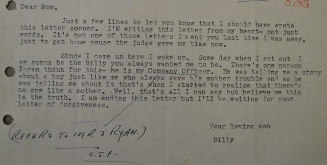 Billy's Letter Feb.25, 1953