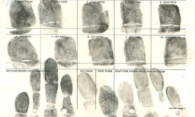 Papo of the Brooklyn Apaches Gang Fingerprint Card 1959
