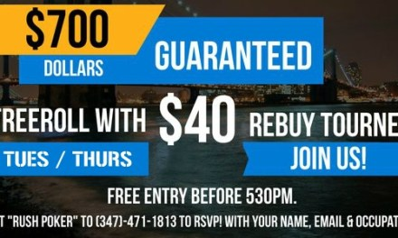 Tuesday, October 27th, 2015 || Cash Game & Freeroll with rebuy Tournament in Midtown/Brooklyn