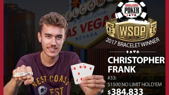 Chris Frank Wins 2017 World Series of Poker $1,500 No-Limit Hold'em