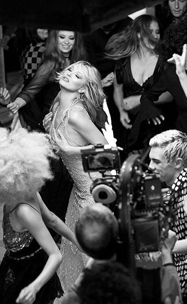 "Kate Moss filming VR ad for Charlotte Tilbury's fragrance ""Scent of a Dream"""