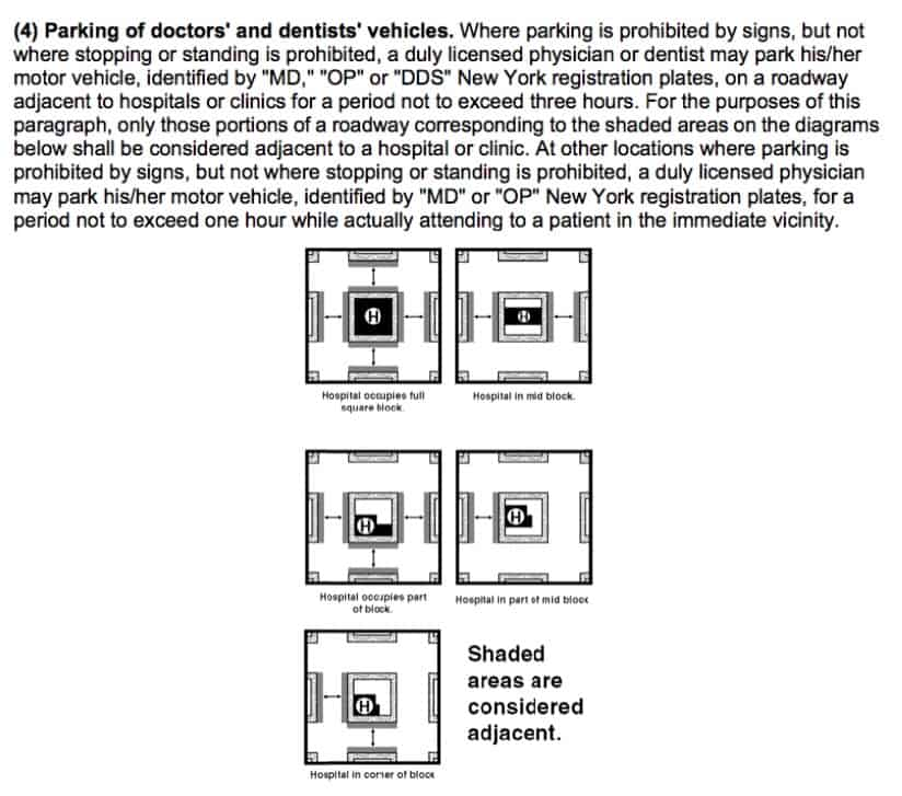 Doctor parking rule with text and diagram