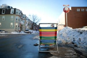Saving a NYC parking space with a beach chair