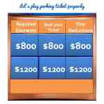 Let's play parking ticket jeopardy