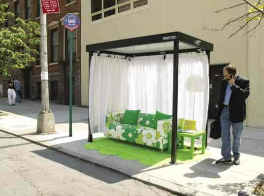 This is an image of a bus stop shelter in nYC