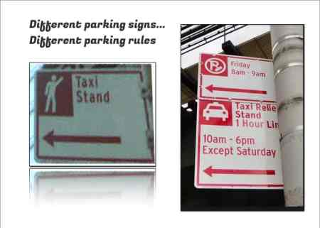 This image compares two parking signs_taxi relief stand-taxi stand