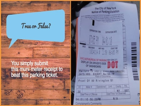 how to beat a muni-meter parking ticket in NYC