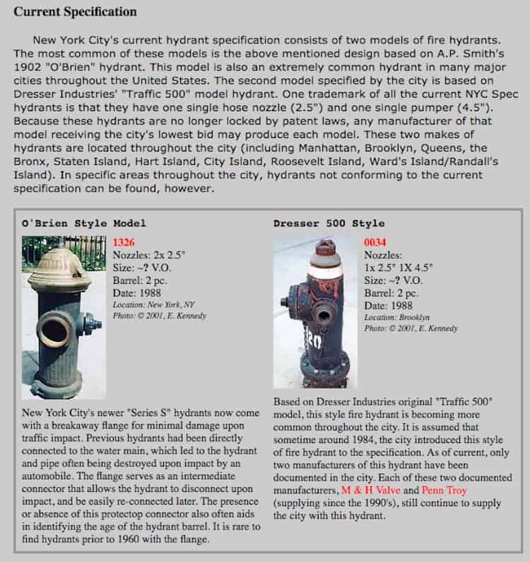 Fire hydrant speicifications