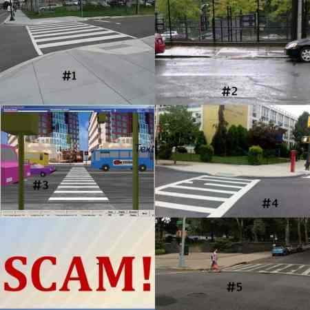 Images of illegal and legal pedestrian ramps (#2 is the legal ramp)