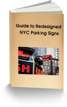 This image is the ecover for the free guide to redesigned NYC parking signs offered on our website
