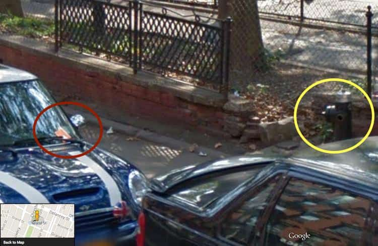 This is a Google Map image showing the hidden fire hydrnt and a parking ticket on the windshield of the car