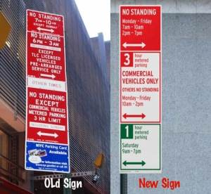 This image shows the old parking signs side by side with a redesigned parking sign NYC