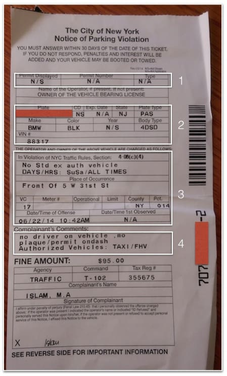 This is an image of a printed NYC parking ticket with sections marked off and numbered