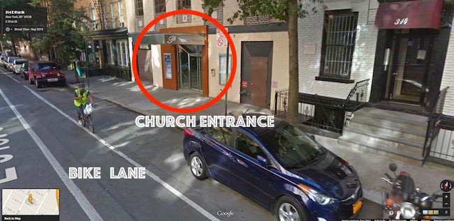 This image is a Google Map view of the street where Joe's double parking ticket was issued
