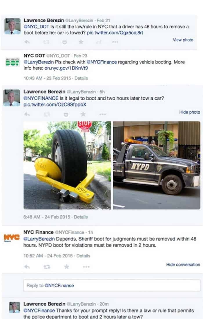 Twitter conversation with NYC DOT and NYC DOF