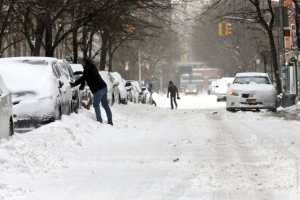 Snow covered NYC streets for ASP day in snow