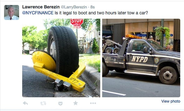 Tweet about the nefarious practice of boot and tow 2 hours later