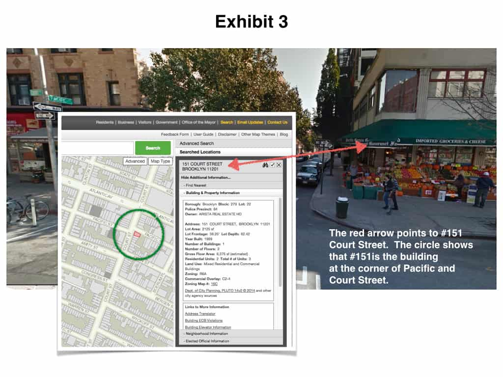 Beating NYC parking tickets by showing the property map view of the corner building