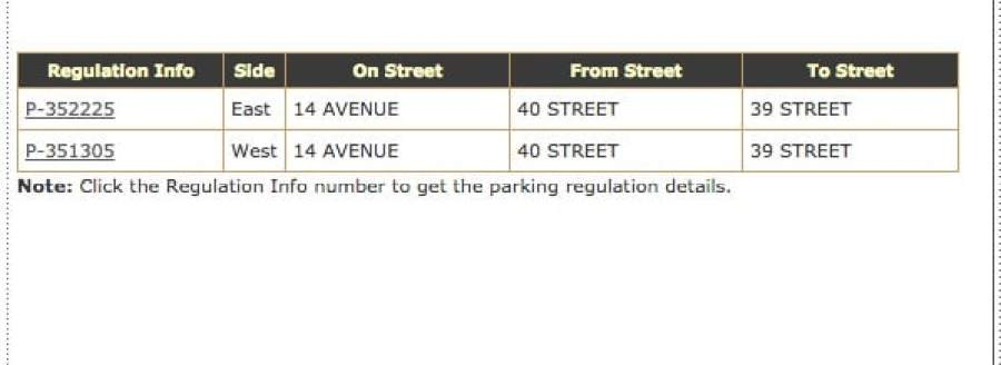 Results of NYC parking ticket search on the DOT parking regulations map